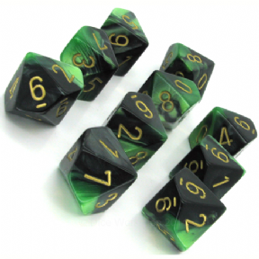 Black & Green Gemini D10 Ten Sided Dice Set